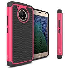 Moto G5 Case, CoverON® [HexaGuard Series] Slim Hybrid Hard Phone Cover Case for Motorola Moto G5 / Moto G 5th Generation - Hot Pink / Black