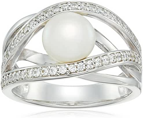 Platinum Plated Sterling Silver made with Swarovski Zirconia Freshwater Cultured Pearl On Open Ring (3/8cttw)