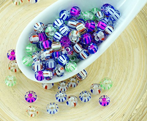 20g Mix Crystal White Purple Lined Green Blue Red Striped Czech Glass Round Seed Beads 6/0 PRECIOSA Pearls Rocaille ()