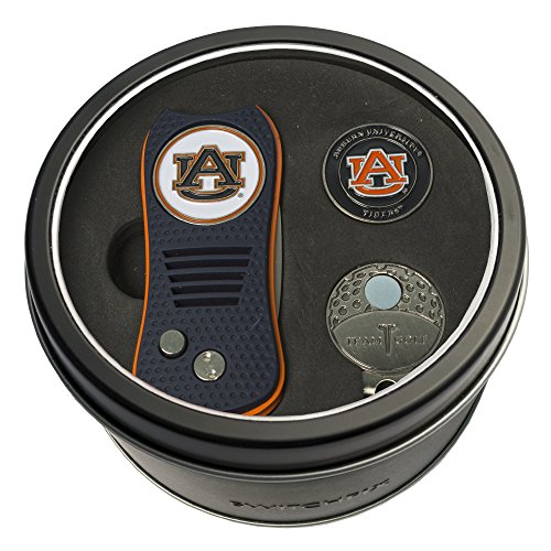 Team Golf NCAA Auburn University Tigers Gift Set Switchblade Divot Tool, Cap Clip, & 2 Double-Sided Enamel Ball Markers, Patented Design, Less Damage to Greens, Switchblade Mechanism