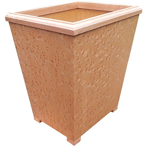 Wooden Wastebasket In Birdseye Maple Veneers And Soilds Small Size 13Qt - With White (Birdseye Maple Cabinets)