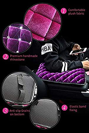 EING Fashion Exquisite Car Armrest Center Console Pad Pure Plush Seat Center Mat Cushion Cover with Bling Diamonds 13.7 x 8.6,Black