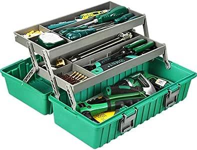 GYZ Caja de Herramientas, Caja de Herramientas de Metal Grueso de 17 Pulgadas Caja de Herramientas de Almacenamiento de múltiples Funciones para el hogar el plastico: Amazon.es: Hogar
