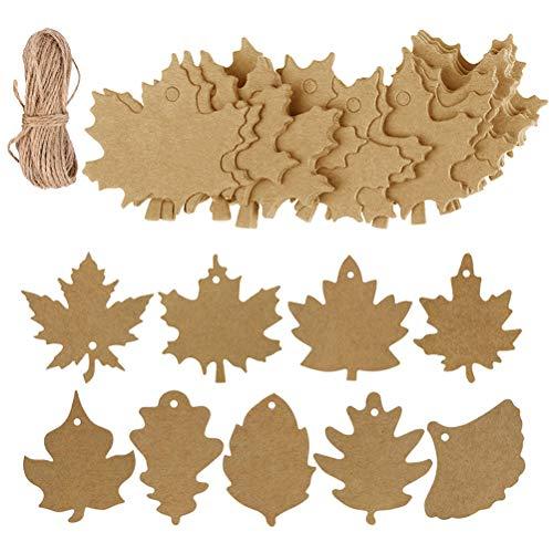 180pcs Maple Leaf Tags,Uspacific Multi-Function Multi-Kraft Paper with