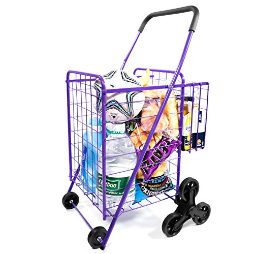 Folding Shopping Carts – Supenice (SN7508) Deluxe Stair Climbing Utility Cart with Tri-Wheels, Double Basket, Extended Handle, 66 LBS Capacity, Utility Cart Great for Shopping, Camping, Sports Equipme