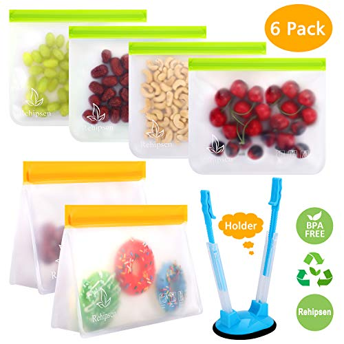 Reusable Storage Bags Ziplock Bags Leakproof for Snacks Fruits Lunch Sandwiches Washable and Reusable Organization FDA Food Grade PEVA Material (Green&Orange)