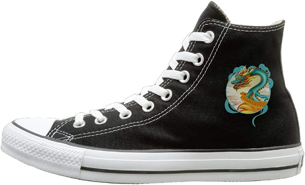 Shenigon Chinese Dragon Canvas Shoes High Top Design Black Sneakers Unisex Style