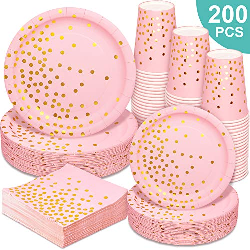 Pink and Gold Party Supplies – 200PCS Pink Paper Plates Disposable Dinnerware Set Gold Dot Dinner/Dessert Plates Cups…