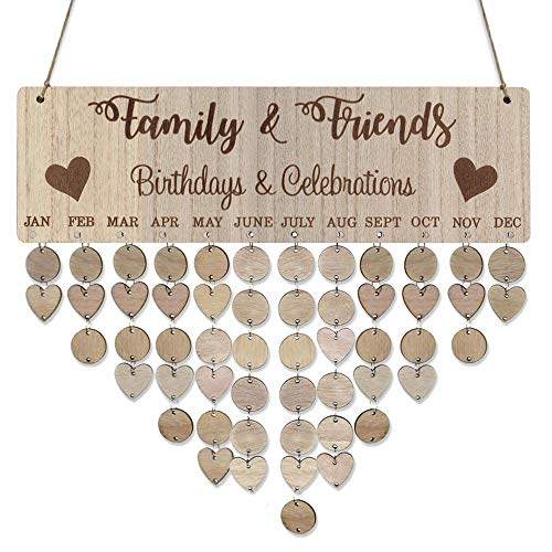 Mome Family Hanging CalendarFamily Board Plaque DIY Hanging Wooden Birthday Reminder Calendar,Great Gift for a Birthday, Wedding, Anniversary, Valentine's Day, Mother's Day etc. (A) ()