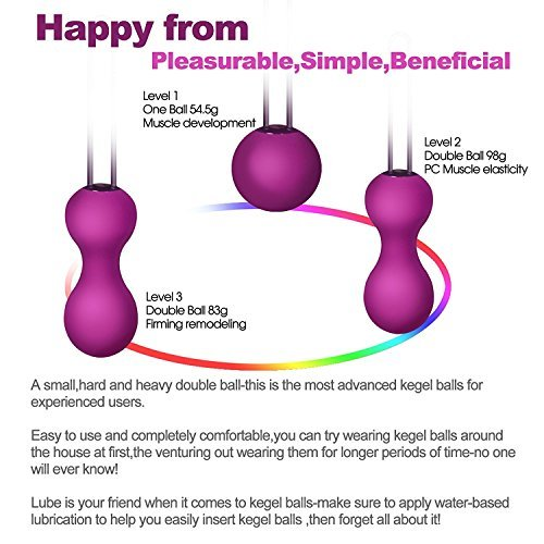 Kegel Balls Set for Women Bladder Control & Pelvic Floor Exercises with 3 Premium Silicone Ben Wa Balls from Beginners to Advanced