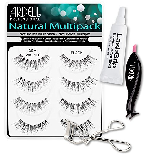 Ardell Fake Eyelashes Demi Wispies Value Pack - Natural Multipack Demi Wispies (Black), LashGrip Strip Adhesive, Dual Lash Applicator, Cameo Eyelash Curler - Everything For Perfect False - Shaped Face Almond