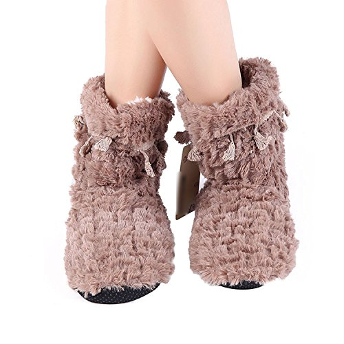 Warm Ful Baolustre Home Slippers Winter Sheep Slippers Women Cotton Gray qwx7xt1C