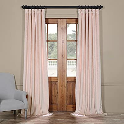"VPYC-161207 Heritage Plush Velvet Curtain, 50 x 84, Ballet Pink - Sold Per Panel 100% Polyester | Lined 3"" Pole Pocket with Hook Belt & Back Tabs - living-room-soft-furnishings, living-room, draperies-curtains-shades - 517v5nBKbIL. SS400  -"