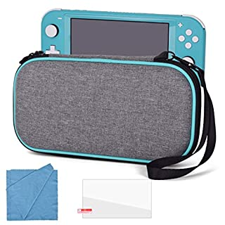 SinFoxeon Protect Case for Nintendo Switch Lite Portable Hard Carry Bag with Wrist Strap Waterproof Case with Tempered Glass Screen Protector and Clean Cloth, Game Cards Holders & Case