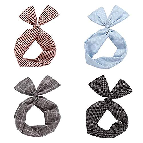 Twist Bow Wired Headbands Scarf Wrap Hair Accessory Hairband by Sea Team (4 Packs) (Multicolored) -
