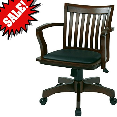 Bankers Desk Chair with Arm Rests Wooden Espresso Brown Black Vinyl Upholstered Padded Tufted Seat Swivel Rolling Adjustable Height Classic Home Office Desk Chair with wheels eBook by Easy&FunDeals