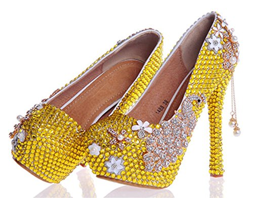 Heel Good High Bride Wedding Crystal Womens 37 14cm Evening Party Court Quality Rhinestones MNII Pearl Yellow Platforms Bridesmaids Shoes wTOqSI4
