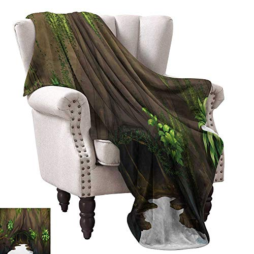 (Anyangeight Throw Blanket,Tree Cave Surrounded with Moss Woodland Green Fantasy Secret World Cartoon 50