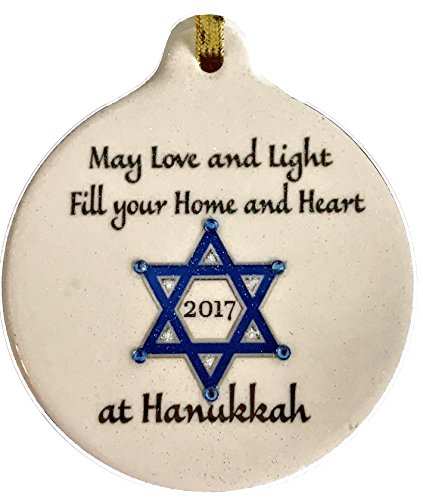 Happy Hanukkah Star (Happy Hanukkah 2017 May Love and Light Fill Your Home Heart Porcelain Ornament Star of David)