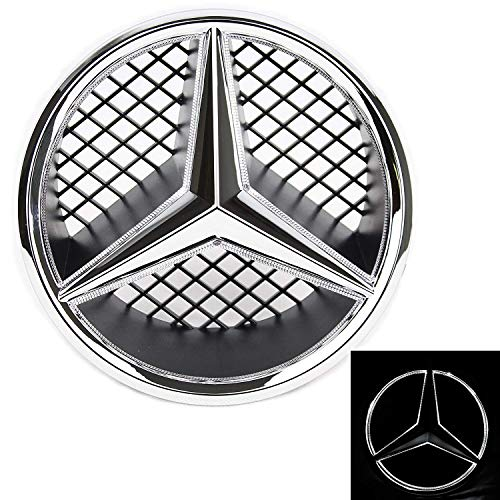 IHEX Auto Xenon White LED Emblem for Mercedes Benz W204 C-Class, X204 GLK-Class, Front Car Grille Badge, Illuminated Logo Hood Star DRL