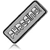 """[1 Count Single] Custom and Unique (1 1/2'' x 4 1/4'' Inch) Rectangle """"Novelty"""" ''Phrasing'' Words Text Comic Sans Font Shakespearean Art Craft Iron On Embroidered Applique Patch {Black, Gray, & White}"""