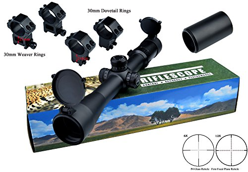 Lebo Rifle Scopes 3-12x40 Side Focus First Focal Plane Riflescopes P4 Etched Glass Reticle with 2 Kinds of Mounts