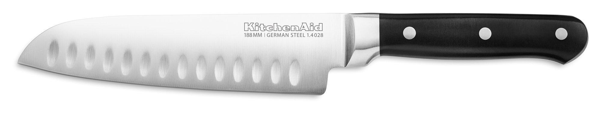 KitchenAid KKFTR7SKOB Classic Forged Series Triple Rivet Santoku Knife, Onyx Black, 7''