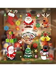 Christmas Window Clings, Miss Rui 10 Sheets Christmas Window Stickers, Snowflakes Reindeer Santa Claus Static Clings for Christmas Window Descoration