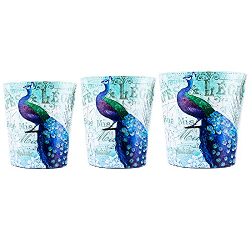 Basket Peacock - Haoun 3 Pack Different Size Wastebasket Decorative, Leather Trash Can Garbage Can for Home Office,10 L PU Waste Bin + 7 L Small Countertop Dustbin + 5.5 L Mini Desktop Waste Paper Basket (Peacocks)