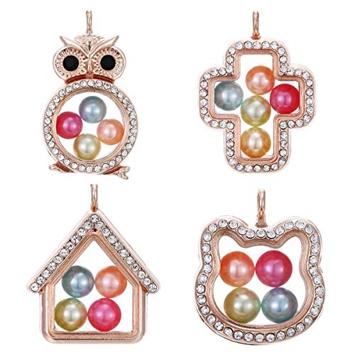 - 4pcs Mixed Rose Gold Owl Cat Cross Living Memory Floating Locket Charms Glass Pearl Cage Pendants - for Pearl Shows DIY Jewelry Making Fun Gifts (Style-6)