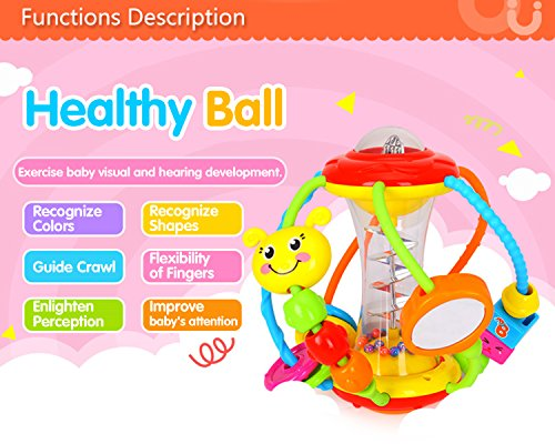 Coolecool Healthy Ball Baby Toys 3 6 Months Baby Rattle Educational Learning Activity Sensory Toys for Infants Babies (Multicolored) by Coolecool (Image #3)