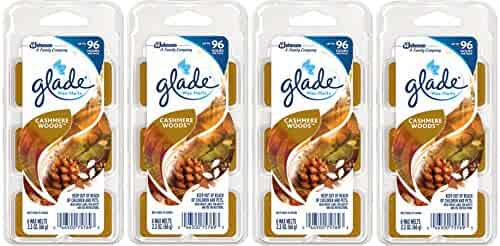 Glade Wax Melts - Cashmere Woods - 6 Count - Net Wt. 2.3 OZ (66 g) Each - Pack of 4 (24 Melts Total)