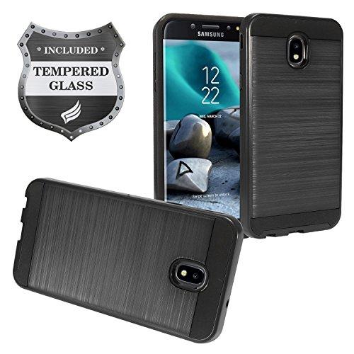 Samsung Galaxy J7 (2018), J7 Refine, J7 Star, J7 Crown, J7 Aura, J7 Top, J7 V J7V 2nd Gen J737 - Brushed Style Hybrid Case + Tempered Glass Screen Protector - CS3 Black