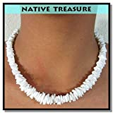 """Native Treasure - """"Good Karma"""" Rugged Surfer White Rose Clam Chips Puka Shell Necklace or Bracelet - 6"""" to 30"""""""