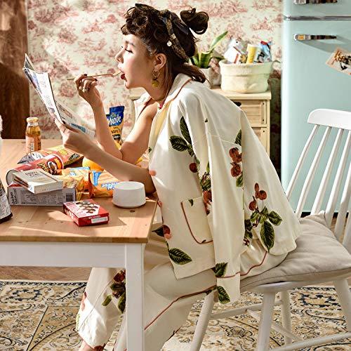 L Pigiami Pigiameria Primavera Donna Risvolto Pezzi Da Autunno Lunghe Notte Bretelle Minimalista Da GZZ Camicie Beat Sezione Street Sottile Sexy Donna Cotone Pigiama Da Tre Maniche Notte wn1XFxq