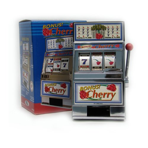 Trademark Poker Cherry Bonus Slot Machine Bank with Spinning (Machine Bank)