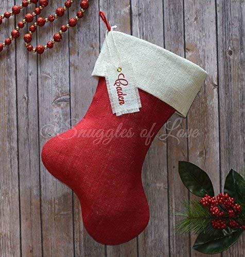 Embroidered Christmas Stockings.Amazon Com Embroidered Christmas Stocking In Red Burlap And