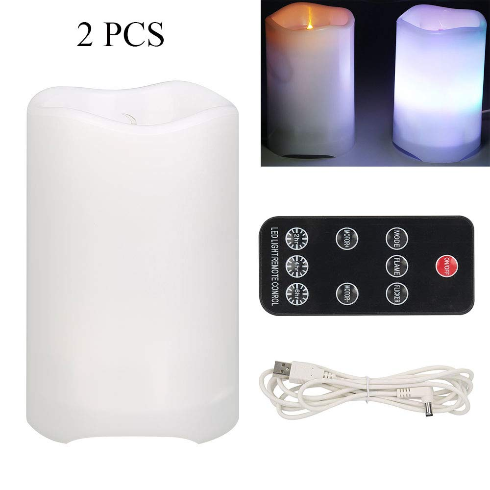 Umiwe Tea Lights Candles, LED Flameless Candle Projection Lamp, Flameless Electric Candle Lights with Remote Control Mood Lamp and Projection Night Light (Xmas) - 2 pcs