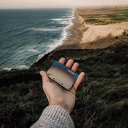 Portefeuille Authentique The Ridge Portefeuille Minimaliste en M/étal Titane de Blocage RFID avec Clip /à Billets Titane Br/û/é Portefeuille Mince pour Homme