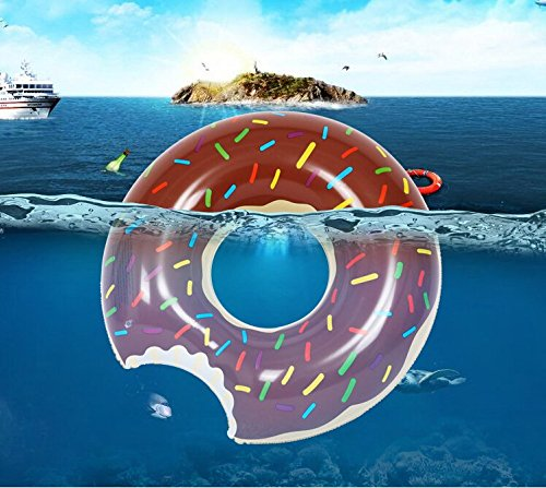 Rainbowkids Swimming Ring Inflatable Floats Pool Swimming Float For Adult, Floats inflatable donut Swim Ring Water Sports Toy With a Free Inflator Pump Gift (s, Chocolate)