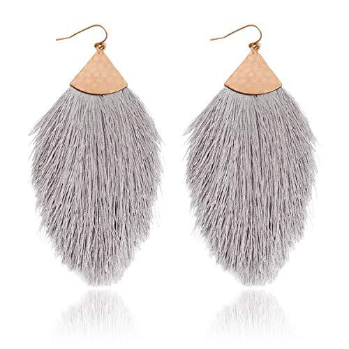 RIAH FASHION Bohemian Silky Thread Tassel Statement Drop Earrings - Strand Fringe Lightweight Feather Shape Hook Dangles/Fan Threader/Triangle Duster (Petal Tassel - Gray)