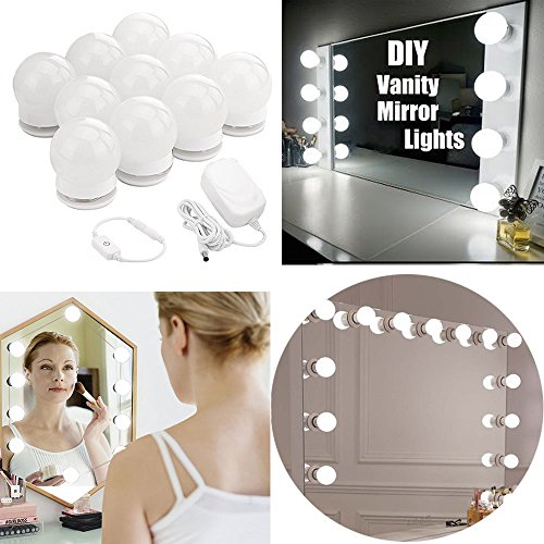 LED Vanity Mirror Lights kit - MRah Hollywood Style Makeup Mirror Lights with 10 Dimmable Bulbs, Lighting Fixture Strip for Makeup Vanity Table Set in Dressing Room(Mirror Not Included)