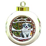 Please Come Home For Christmas Border Collie Dog Sitting In Window Round Ball Christmas Ornament RBPOR48379