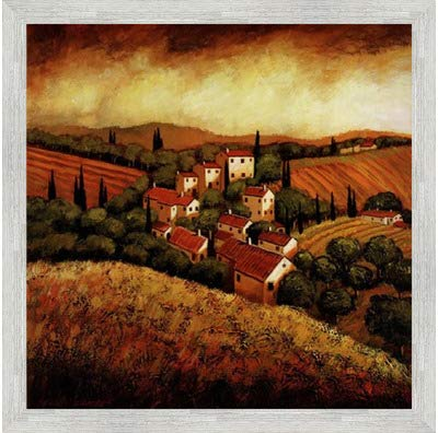 Poster Palooza Framed Tuscan Hillside Village- 24x24 Inches - Art Print (White Barnwood ()