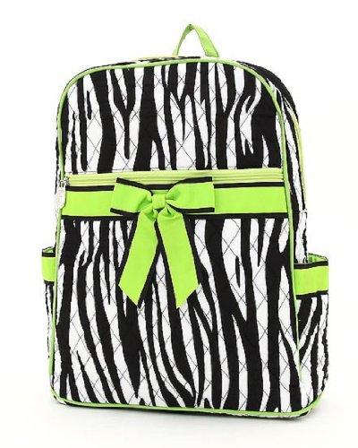 Belvah Large Quilted Zebra Print Backpack (Black/Lime), Bags Central