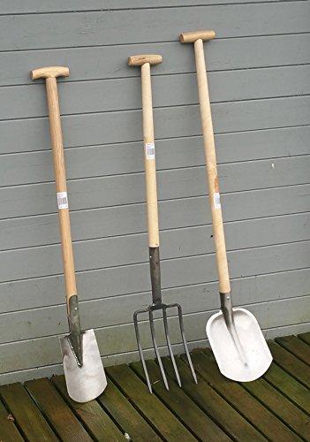 Gartengerte-massiv-1-von-3-Spaten-Forke-oder-Schaufel-mit-Holzstiel-u-T-Griff