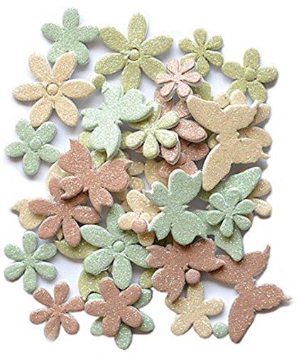 Handmade Glitter Sticker Scrapbooking 3-D foam Dasies & Butterflies Neutral (3d Handmade Stickers Scrapbooking)