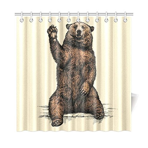 InterestPrint Funny Animal Home Decor, Bear Say Hello Polyester Fabric Shower Curtain Bathroom Sets 72 X 72 Inches by InterestPrint