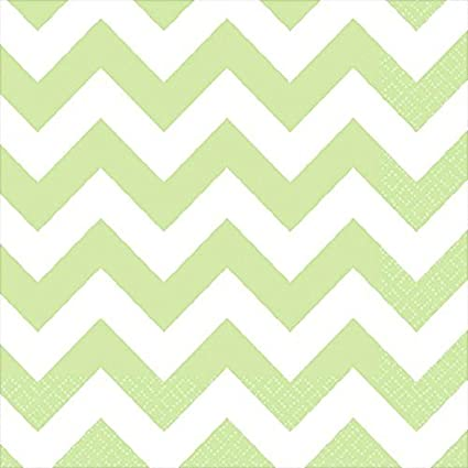 16 Pieces Made from Paper Party Perfect Disposable Chevron Print Luncheon Napkins Tableware Leaf Green by Amscan