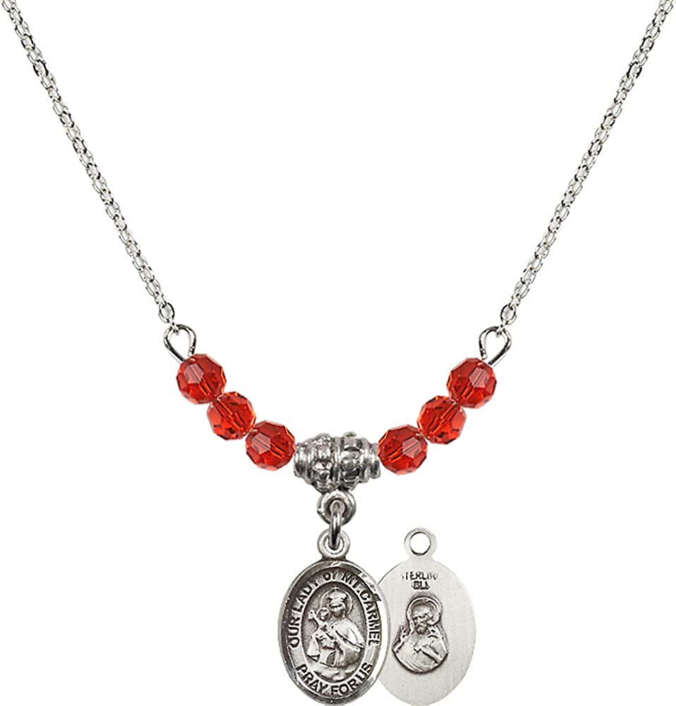 18-Inch Rhodium Plated Necklace with 4mm Ruby Birthstone Beads and Sterling Silver Our Lady of Mount Carmel Charm.